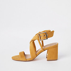 Yellow tie strap block heel sandals