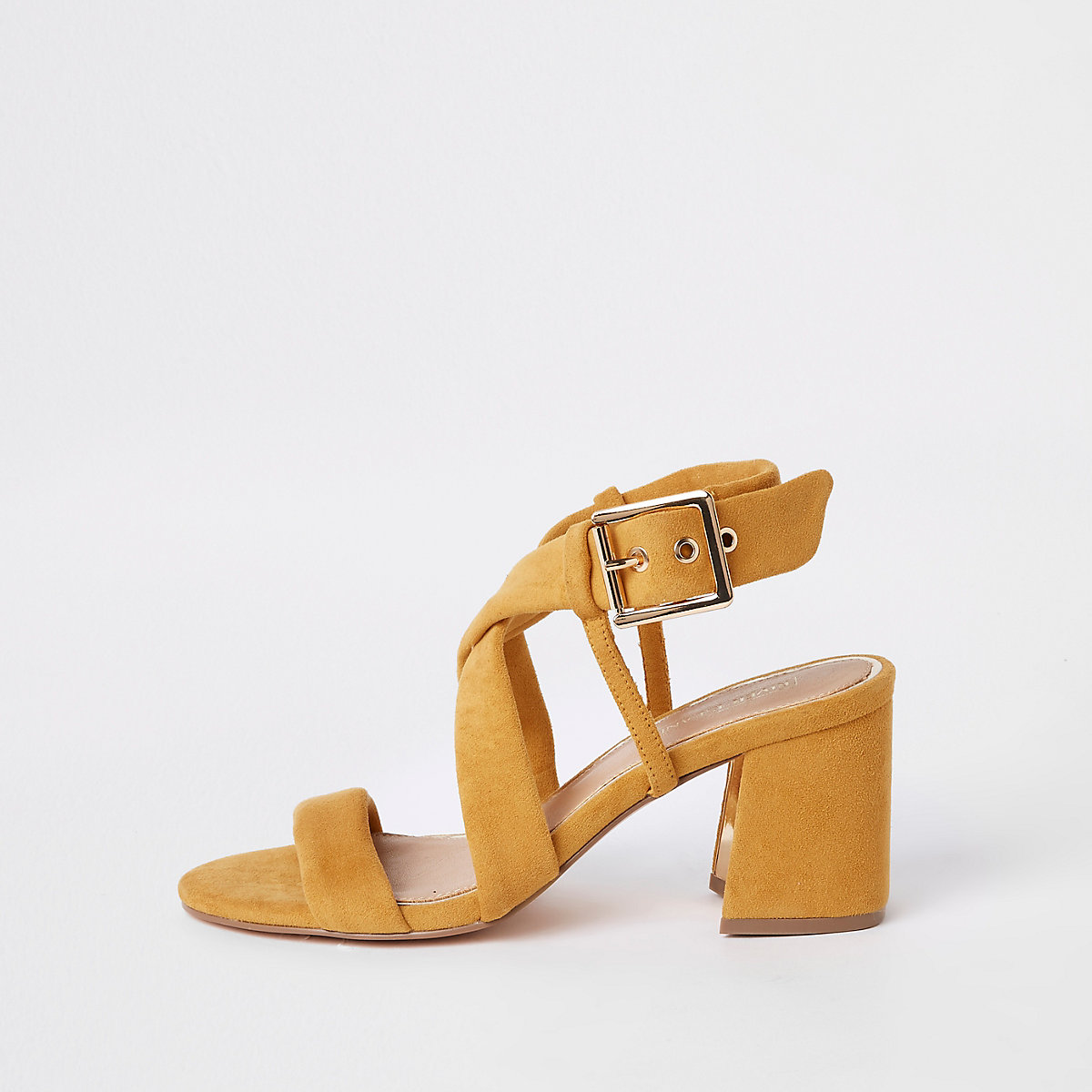 2510c155b47d Yellow tie strap block heel sandals - Sandals - Shoes   Boots - women