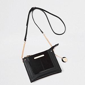 Mini pochette à bandoulière noire zippée