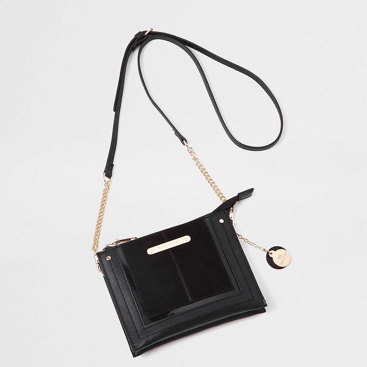 Black mini zip cross body pouch bag