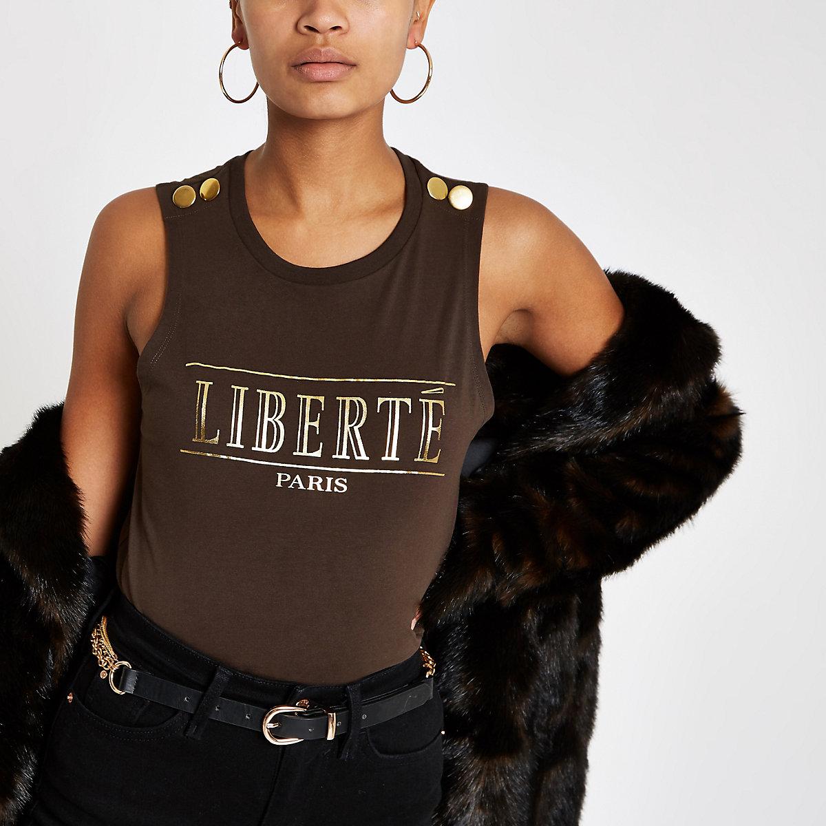 Brown 'liberte' gold foil sleeveless top