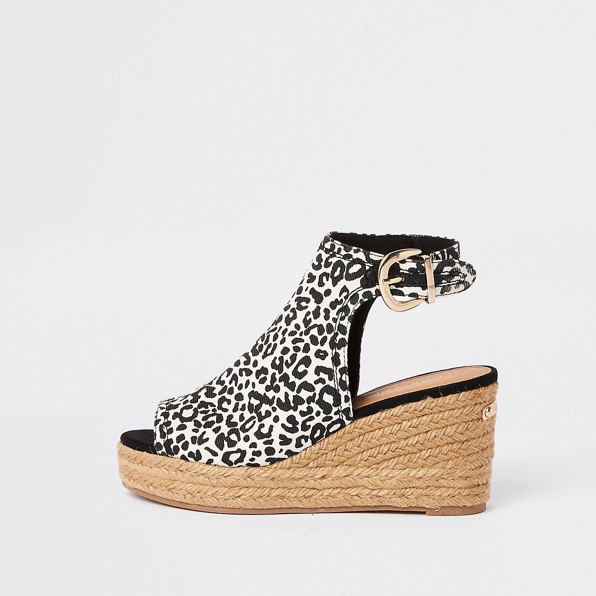 Brown leopard print wedge sandals