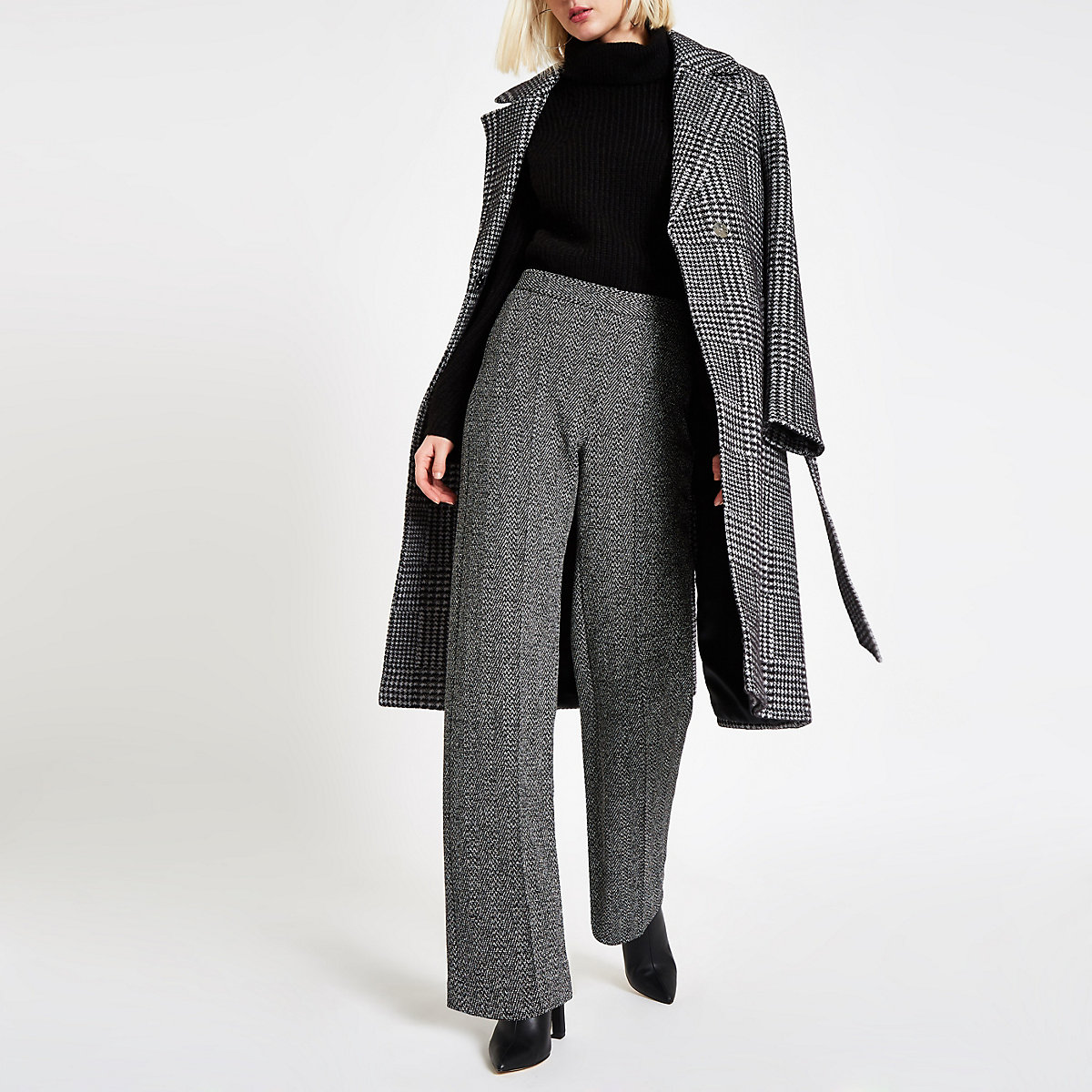 Black tweed check wide leg pants