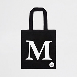 Black 'M' initial shopper tote bag
