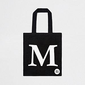 Black 'M' initial shopper tote bag