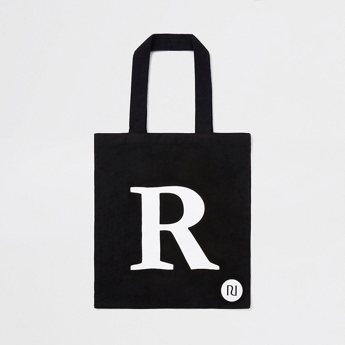 Black 'R' initial shopper tote bag