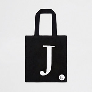 Black 'J' initial shopper tote bag