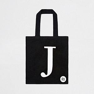 Black 'J' initial shopper tote bag