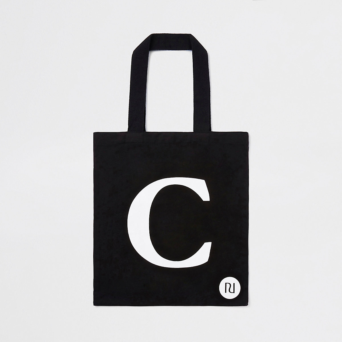 Black 'C' initial shopper tote bag