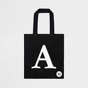 Black 'A' initial shopper tote bag