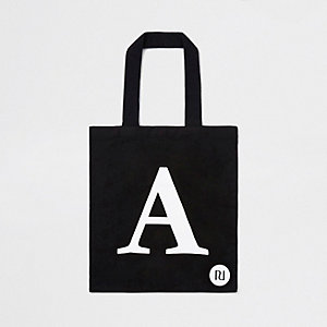 Zwarte shoppertas met 'A'-initiaal