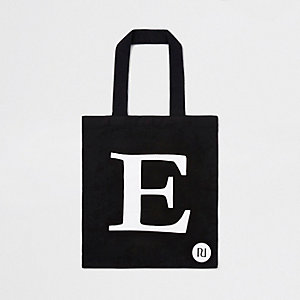 Black 'E' initial shopper tote bag