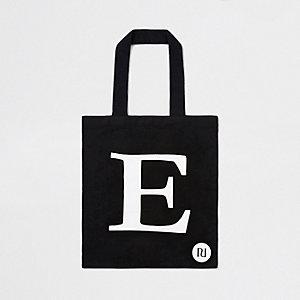 Black 'E' initial shopper tote bag