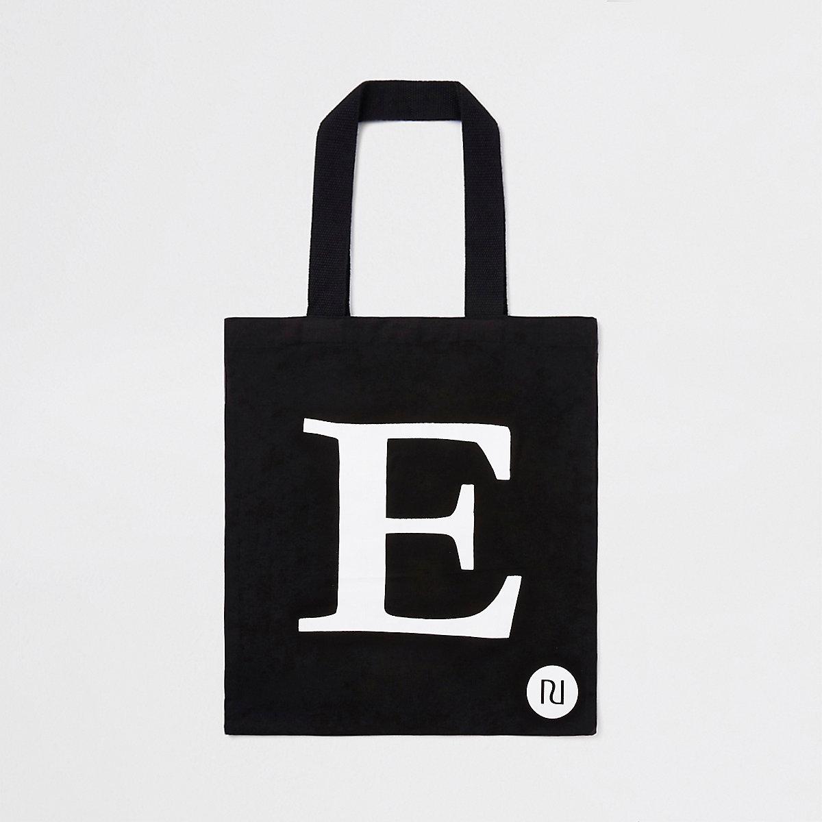 Zwarte shoppertas met 'E'-initiaal