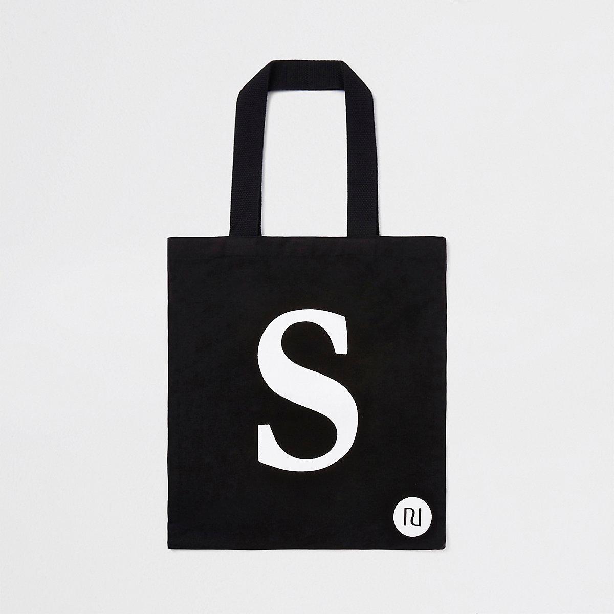 Black 'S' initial shopper tote bag