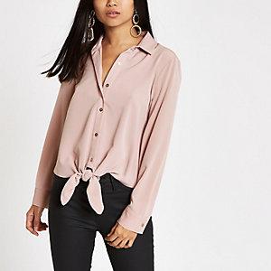 RI Petite - Roze overhemd met strik voor en lange mouwen