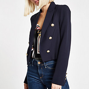 Marineblauwe double-breasted blazer met knoopdetail