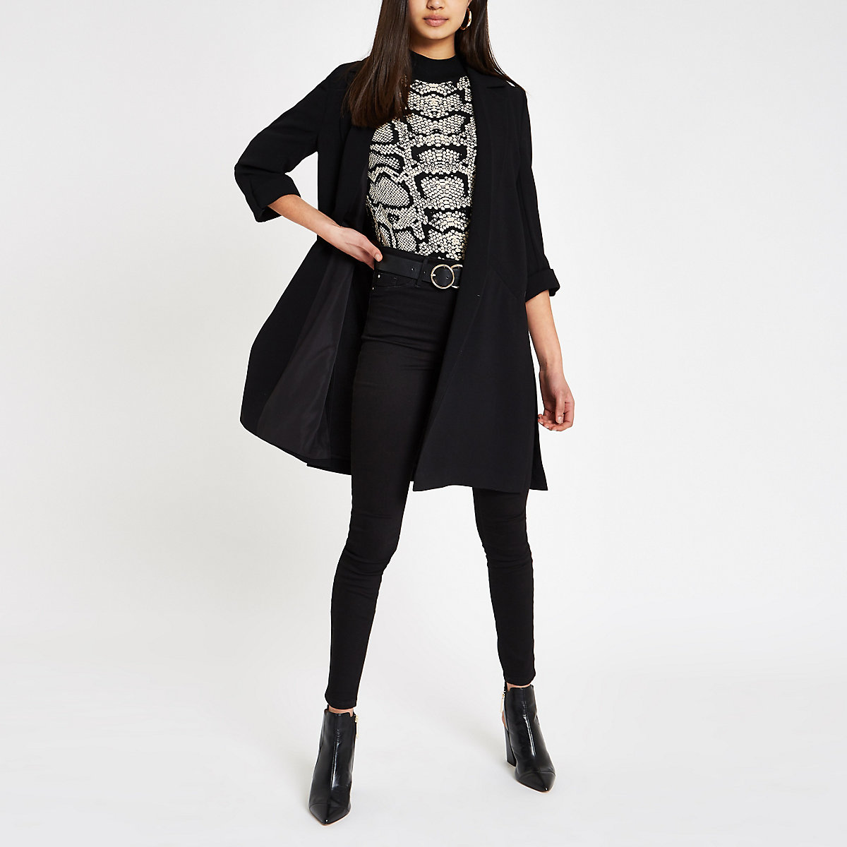 Black longline duster jacket