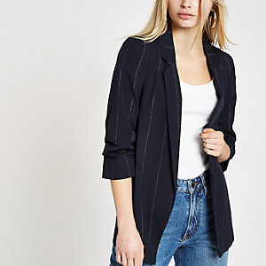 Navy metallic stripe ruched sleeve blazer