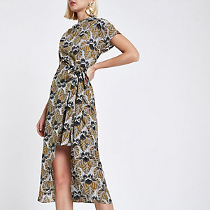 Yellow floral wrap tie midi dress