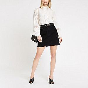 White long sleeve broderie blouse