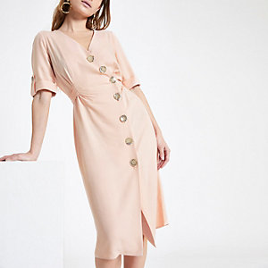 Petite button front midi dress
