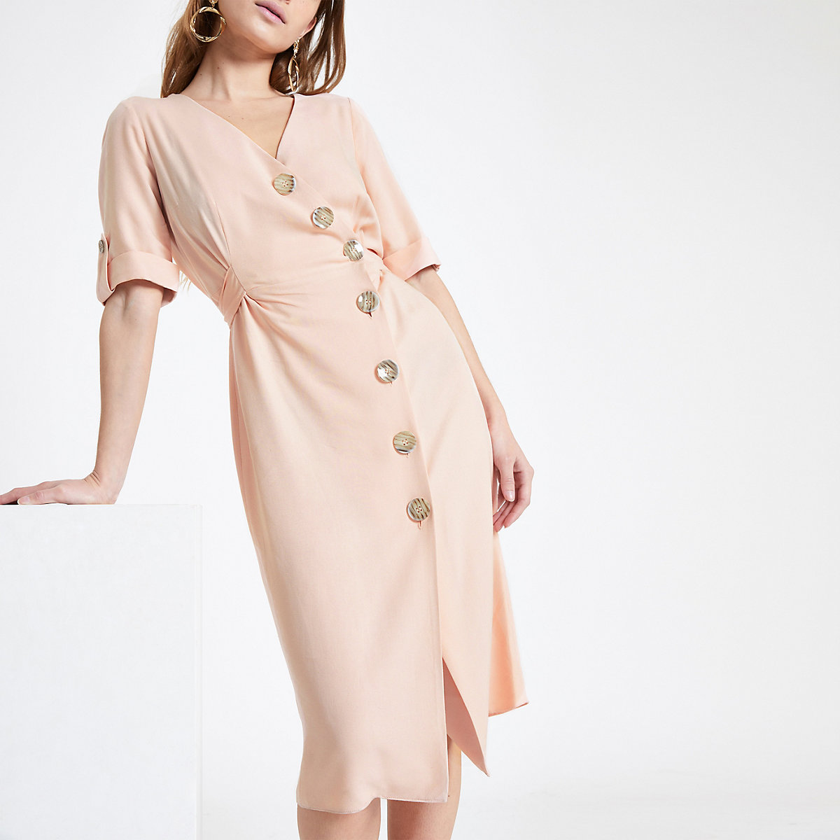 Petite button front midi dress