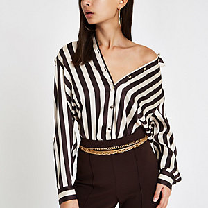 Brown stripe oversized long sleeve shirt