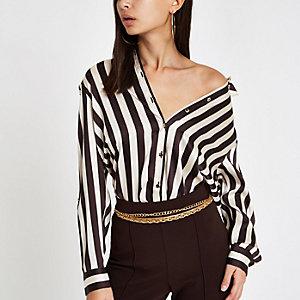 Oversized bruin gestreept overhemd met lange mouwen