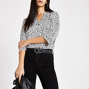 White dalmatian print batwing sleeve blouse