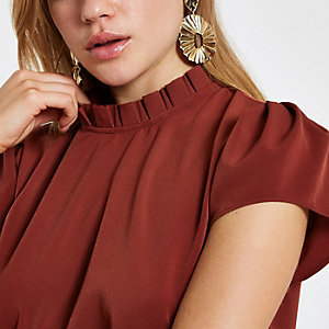 Rust frill neck shell top
