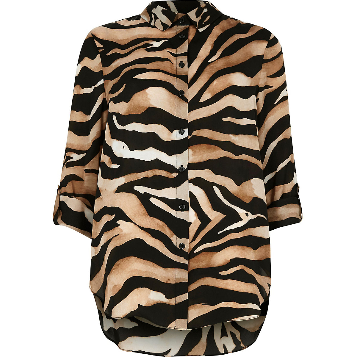 brown zebra print oversized button up shirt shirts tops women