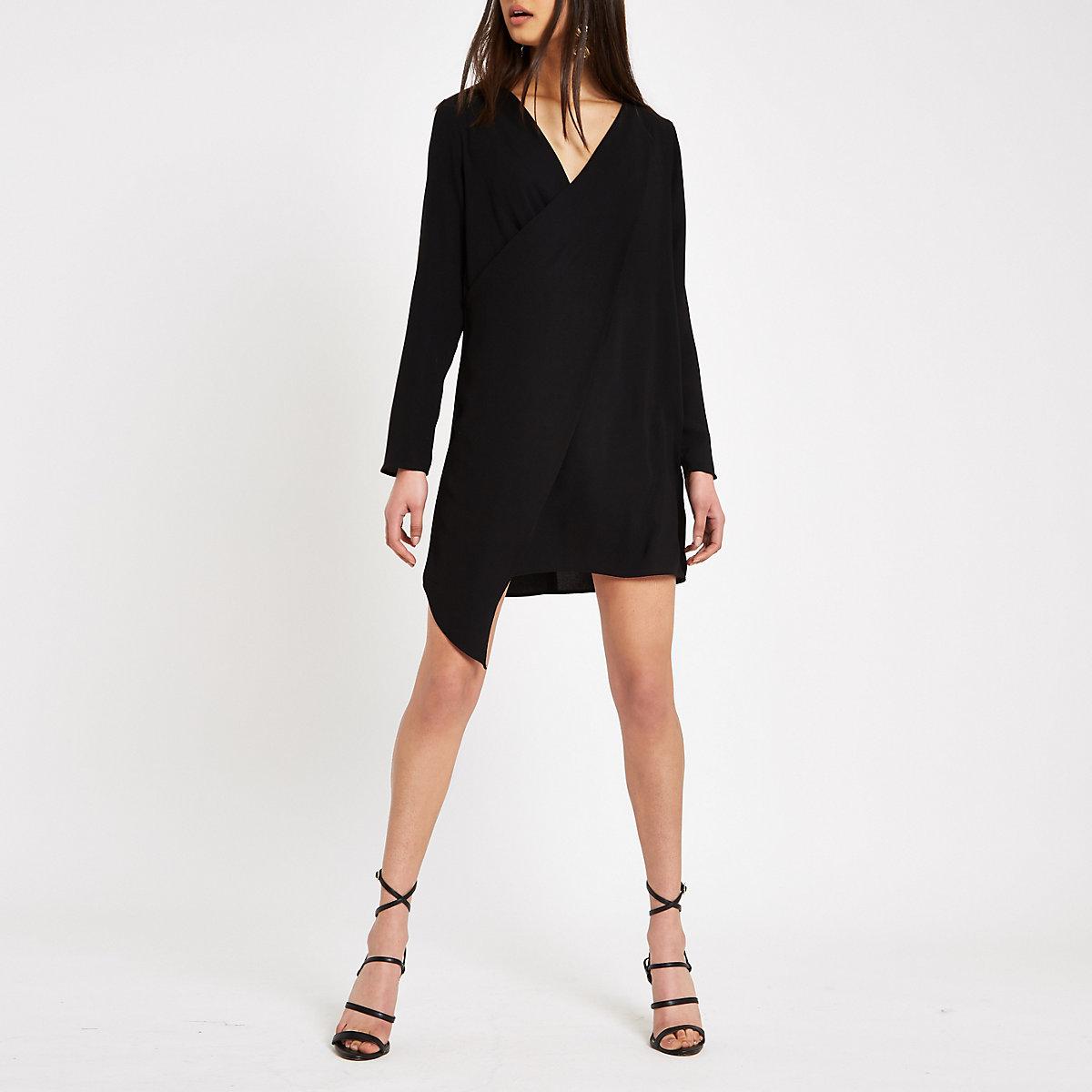Black wrap front swing dress