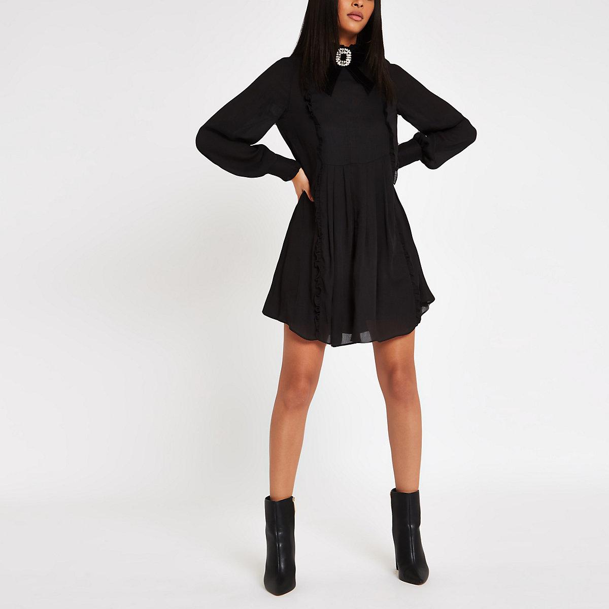 Black jewel brooch bow swing dress