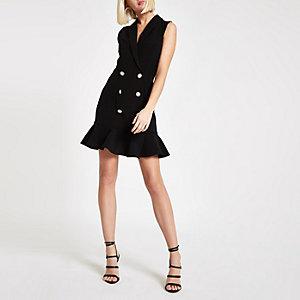 Schwarzes Bodycon-Kleid mit Rüschensaum