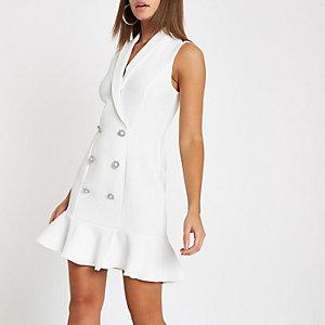 White pearl button frill hem bodycon dress