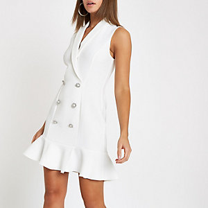 White pearl button frill hem bodycon dress