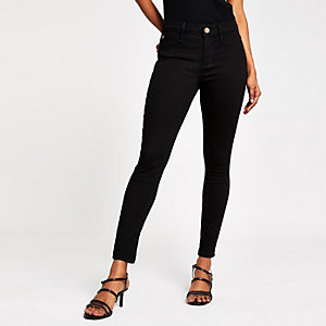Petite black mid rise skinny Molly jeggings