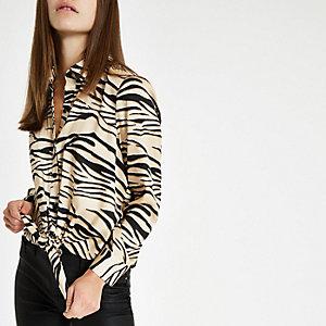 Petite pink zebra print tie front shirt