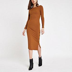 Donkeroranje geribbelde midi-jurk met knoopsluiting opzij