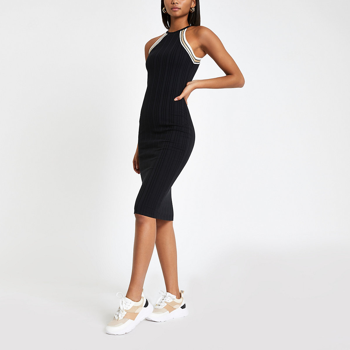 Black halter neck midi bodycon dress
