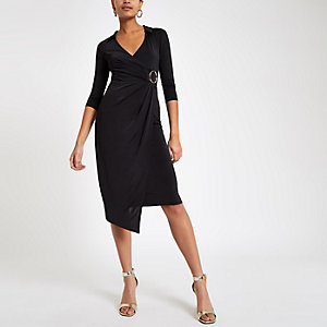 Black ring detail wrap dress