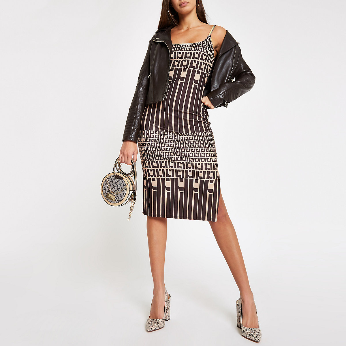 Brown RI monogram bodycon midi dress