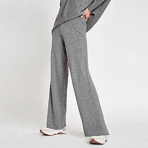 Grey knit wide leg trousers