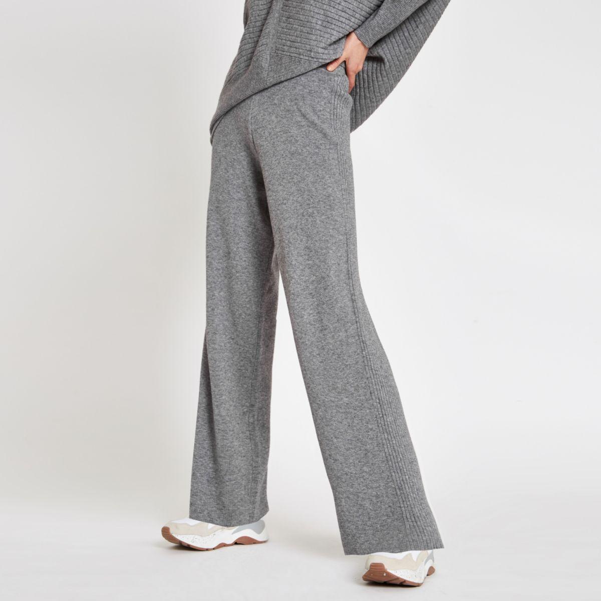 Pantalon large en maille gris