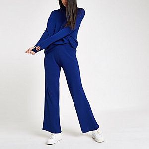 Blue knit wide leg trousers