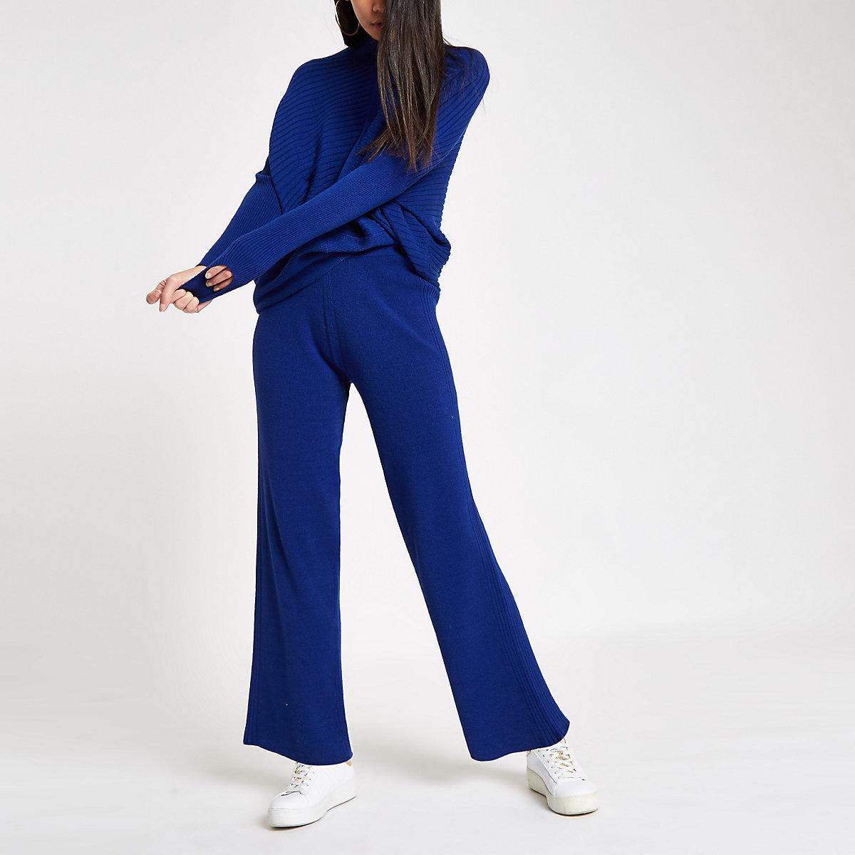 Blue knit wide leg trousers