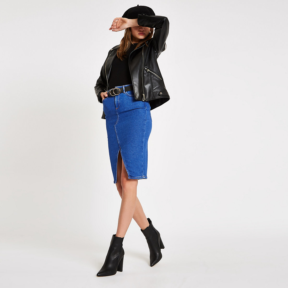 Bright blue denim pencil skirt