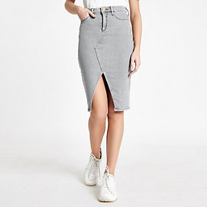 Grey denim split front pencil skirt