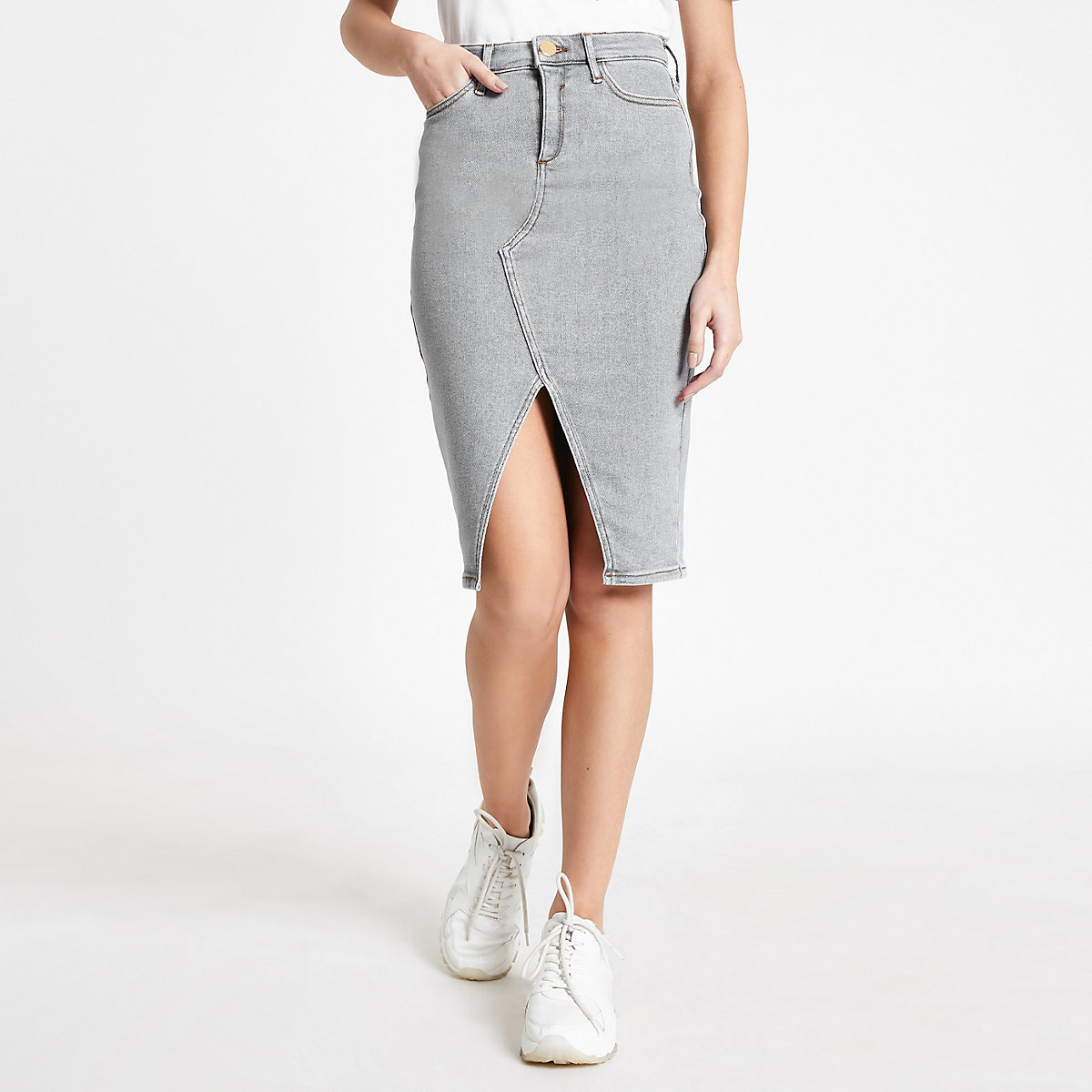 Grey denim split front pencil skirt